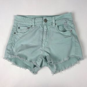 American Eagle Distressed Mint Green Cutoff Shorts